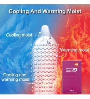 Warm Cool Feeling Moist Large Dots Condom Ice & Fire Spike Nature Latex Rubber