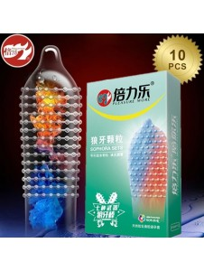 10PCs Ice & Fire Ribbed Condoms With Spikes Warm Cool Feeling Moist Super Large Dots