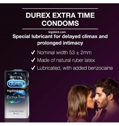 Durex Extra Time condoms 10s delay climax longer lasting Extend Pleasure