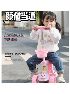 Children's scooter to fold the 2-6-8-10 flash round children three or four roller skating male and female baby walk