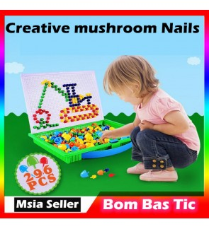 296 Mushroom Nails Flashboard Creative DIY Mosaic Toy Jigsaw Puzzles Pegboard Building Educational Learning Toys
