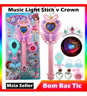 Music Light Shining Magic Wand Glowing Toy Flash Fairy Crown Princess Pretend Girl Children Gift