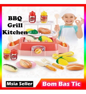 Kids Barbecue Kitchen Toy Pretend Play BBQ Grill Toy Set Kids Chef Role Play Simulation