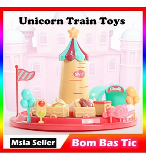Kids Educational Toy Unicorn Train Toys Set With Music Mini Candy Gifts