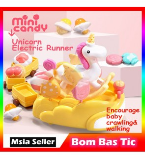 Unicorn Electric Music Cart Parade Ice Cream Train Crawling and walking donut candy Early Learning Toy