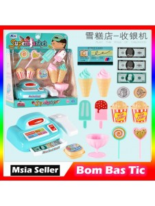 Pretend play kids ice cream desert toys cashier game supermarket toys with Light and Sound Shopping Battery Operated Toy
